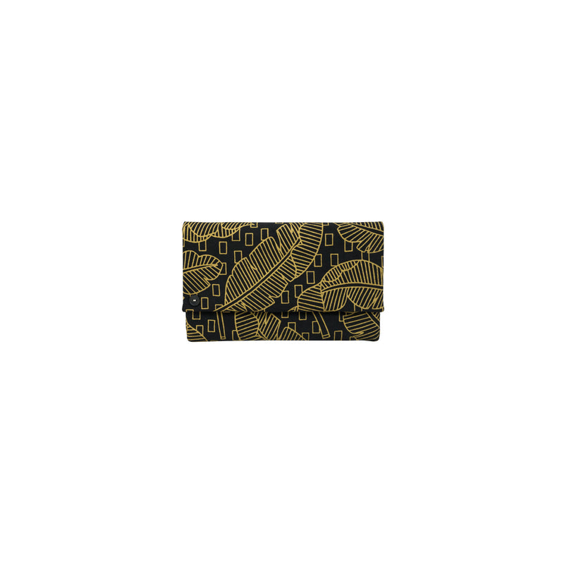 Classic Envelope Clutch • Jungle City • Gold on Black Fabric