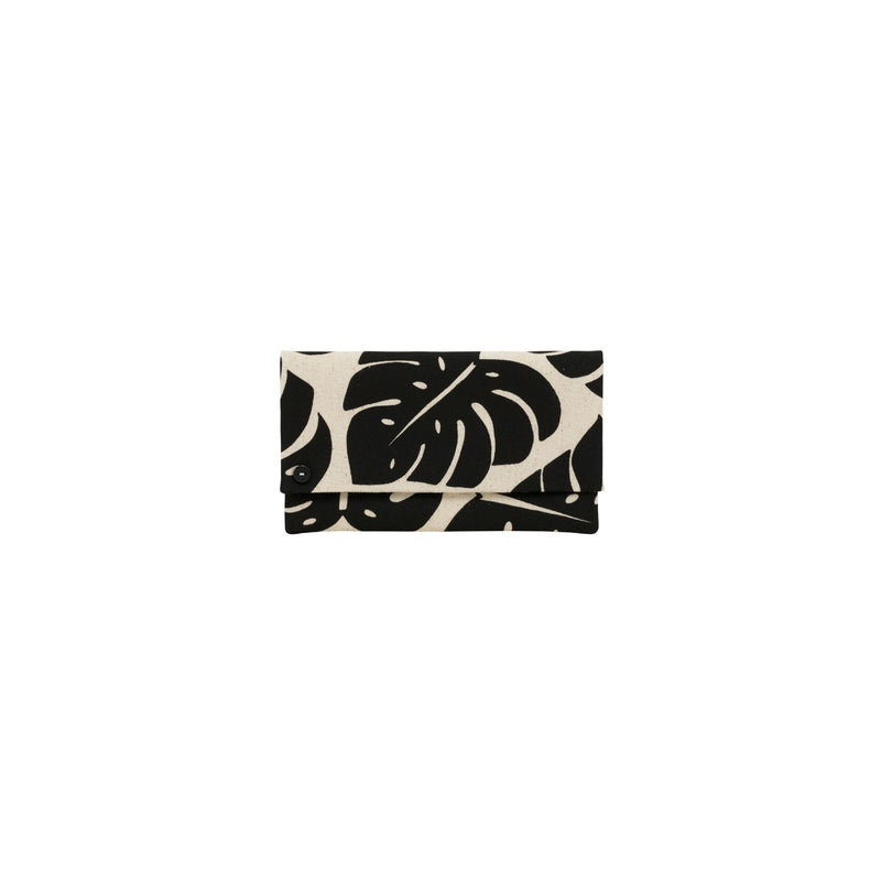 Classic Envelope Clutch • Monstera Shadow • Black on Natural Fabric