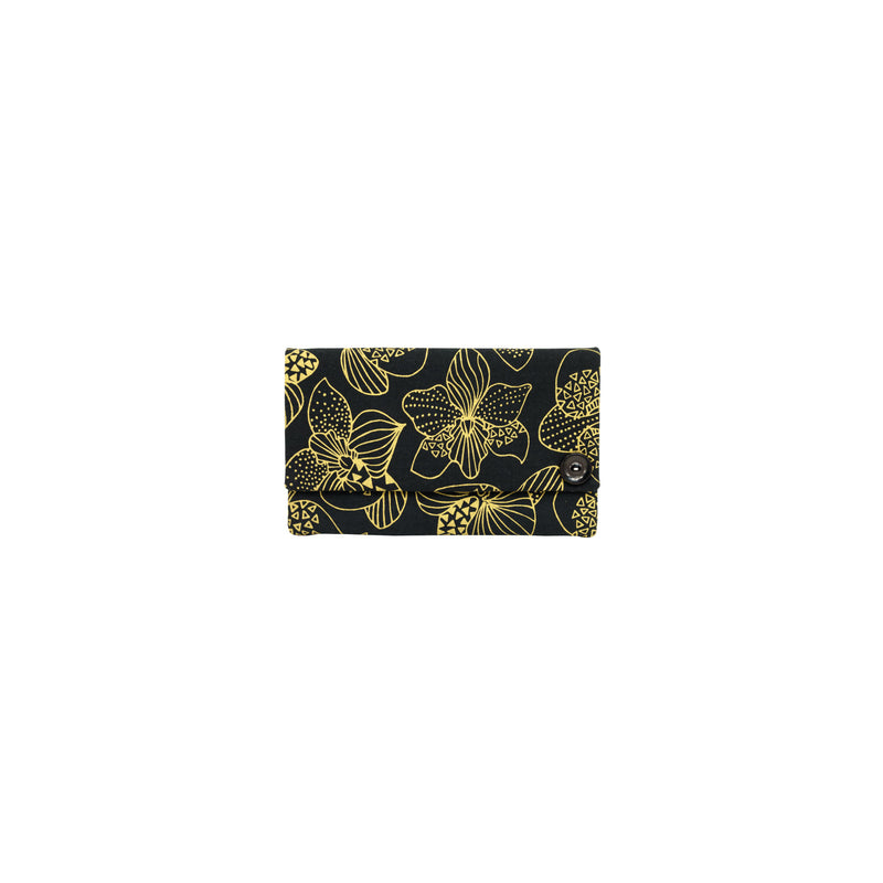 Classic Envelope Clutch • Orchid • Gold on Black Fabric