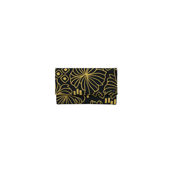 Classic Envelope Clutch • Retro Blooms • Gold on Black Fabric