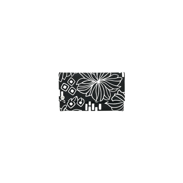 Classic Envelope Clutch • Retro Blooms • White on Black Fabric