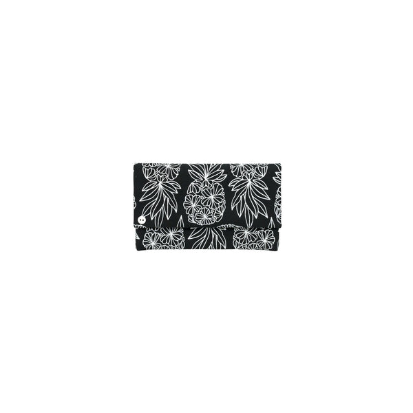 Classic Envelope Clutch • Seaflower Pineapple • White on Black Fabric