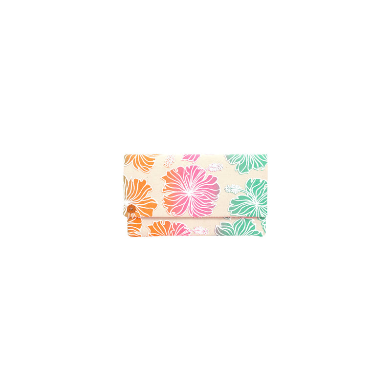 Classic Envelope Clutch • Hibiscus • White over Pink Orange and Green Ombre