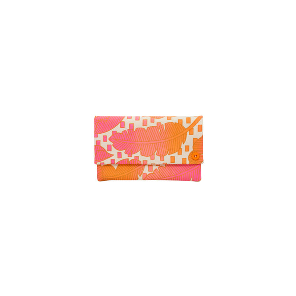 Classic Envelope Clutch • Jungle City • Gold over Pink and Orange Ombre