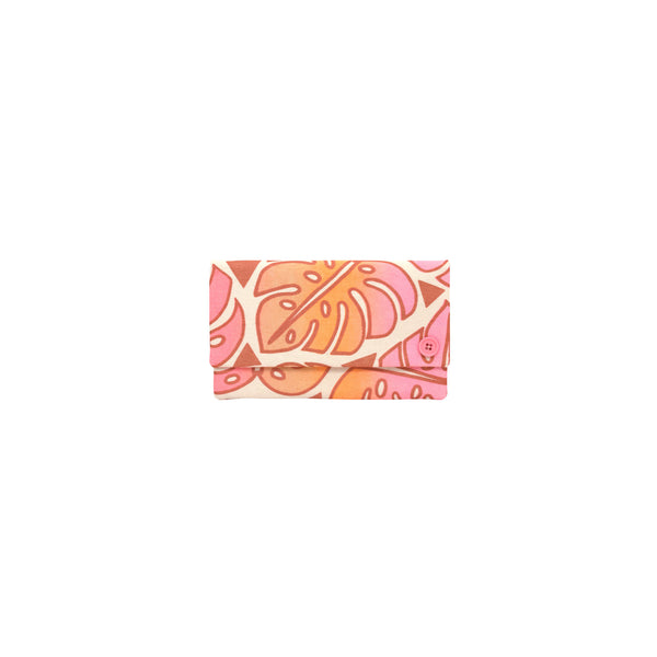 Classic Envelope Clutch • Monstera • Copper over Pink, Tangerine, and Tan Ombre