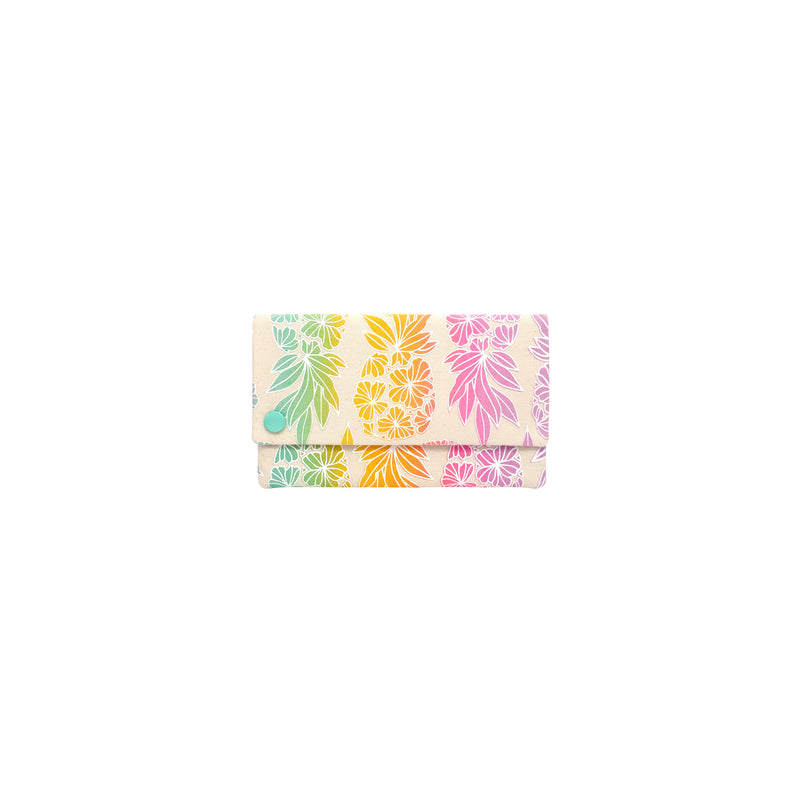 Classic Envelope Clutch • Seaflower Pineapple • White over Ocean Blue, Yellow, Pink, and Purple Ombre