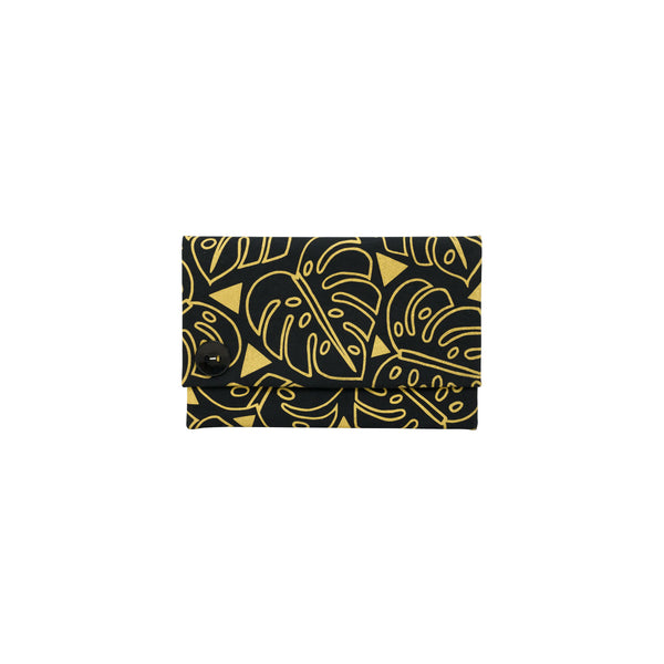 Oversize Envelope Clutch • Monstera • Gold on Black Fabric