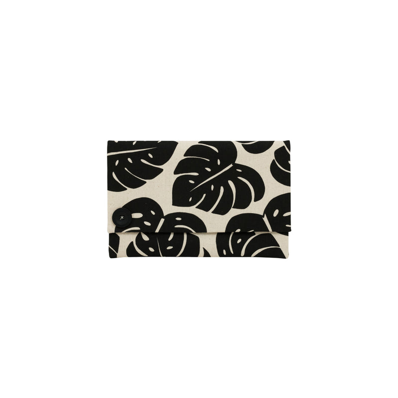 Oversize Envelope Clutch • Monstera Shadow • Black on Natural Fabric