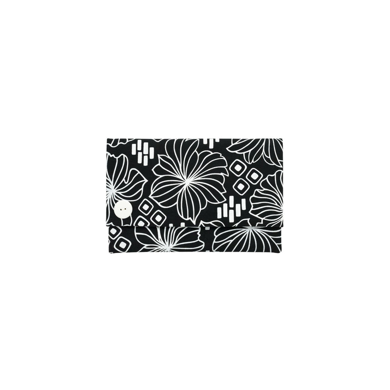 Oversize Envelope Clutch • Retro Blooms • White on Black Fabric