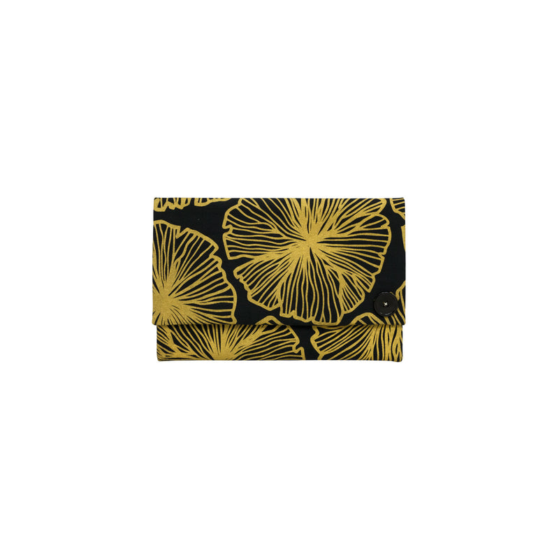 Oversize Envelope Clutch • Seaflower • Gold on Black Fabric