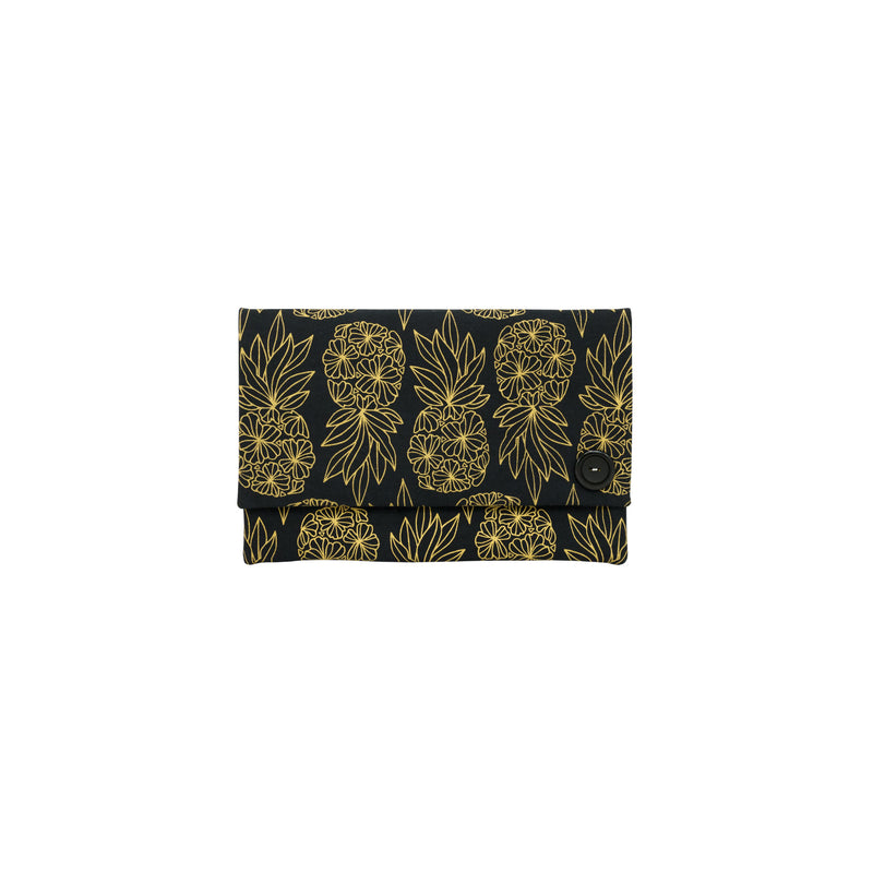 Oversize Envelope Clutch • Seaflower Pineapple • Gold on Black Fabric