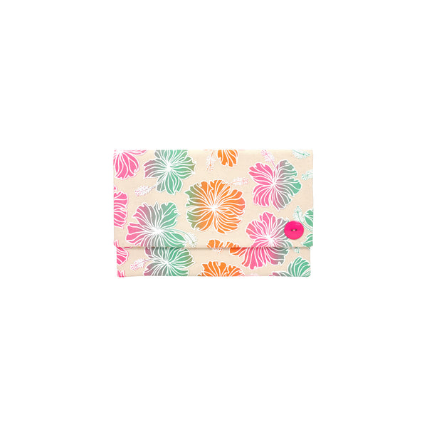 Oversize Envelope Clutch • Hibiscus • White over Pink, Orange, and Green Ombre