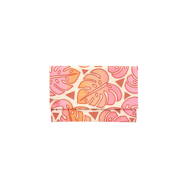 Oversize Envelope Clutch • Monstera • Copper over Pink, Tangerine, and Tan Ombre