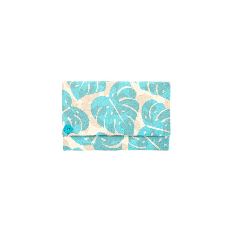 Oversize Envelope Clutch • Monstera and Papaya Leaf Shadow • Ocean over Tan