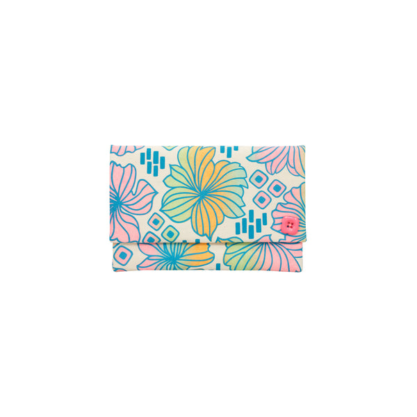 Oversize Envelope Clutch • Retro Blooms • Teal over Pink Tangerine and Mint Ombre