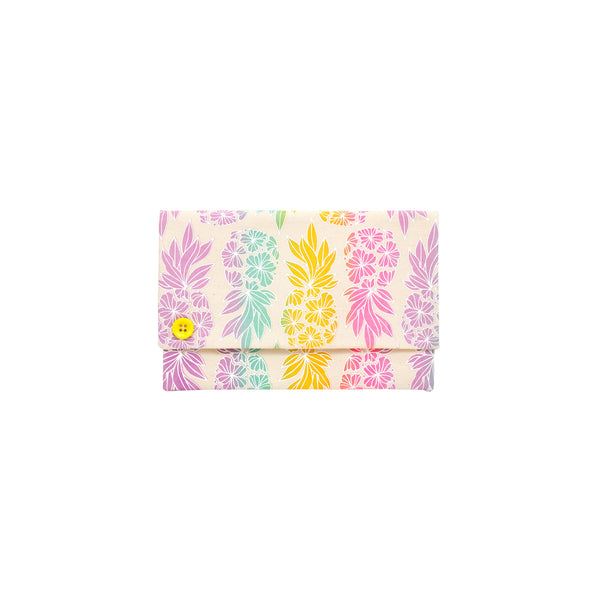 Oversize Envelope Clutch • Seaflower Pineapple • White over Ocean Blue, Yellow, Pink and Purple Ombre