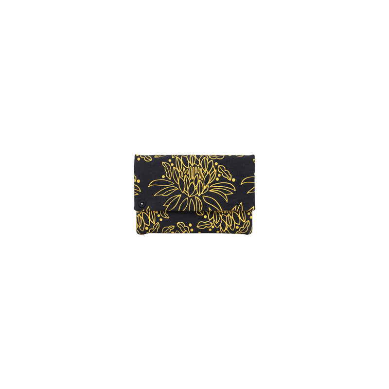 Petite Envelope Clutch • Night Blooming Cereus • Gold on Black Fabric