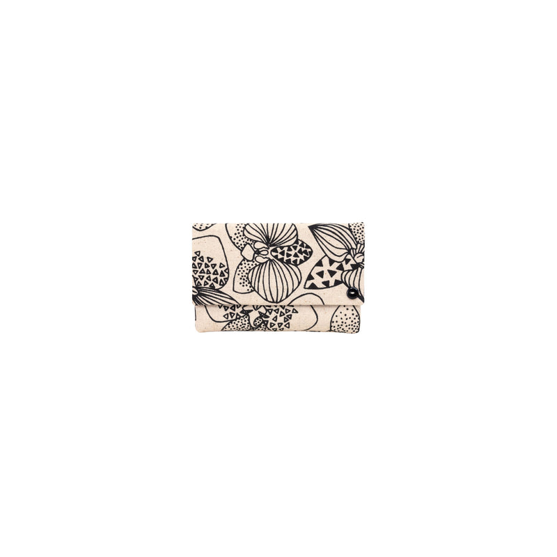 Petite Envelope Clutch • Orchid • Black on Natural Fabric