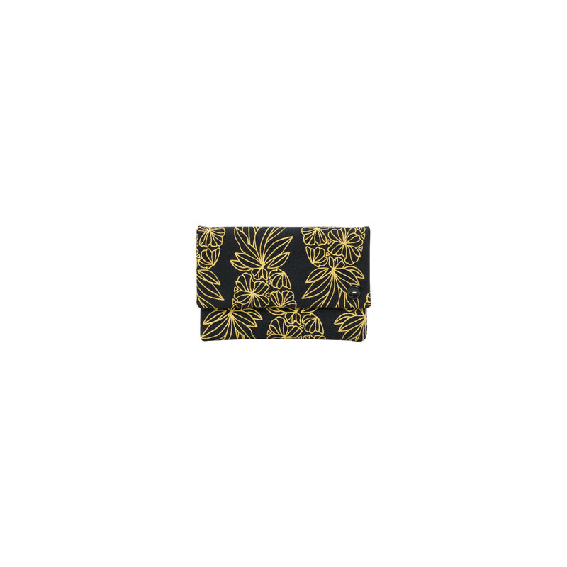 Petite Envelope Clutch • Seaflower Pineapple • Gold on Black Fabric