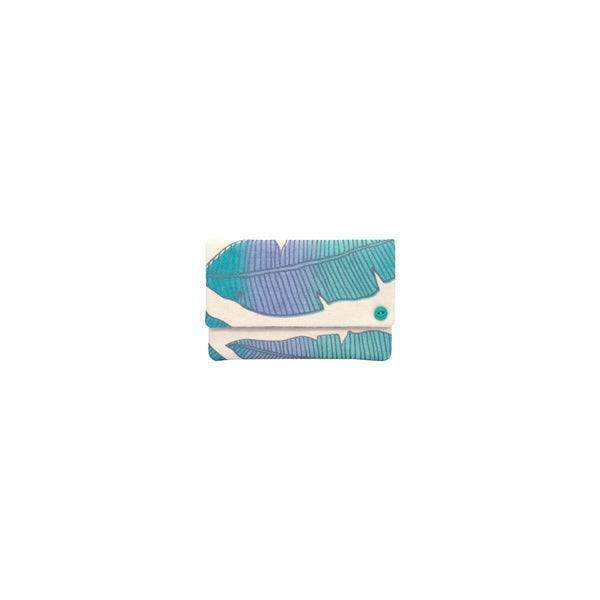 Petite Envelope Clutch • Banana Leaf • Metallic Gray over Periwinkle, Aqua, and Turquoise Ombre