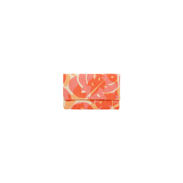 Petite Envelope Clutch • Monstera Papaya Shadow • Red Orange over Tangerine
