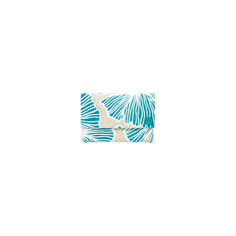 Petite Envelope Clutch • Seaflower • White over Turquoise and Blue Ombre