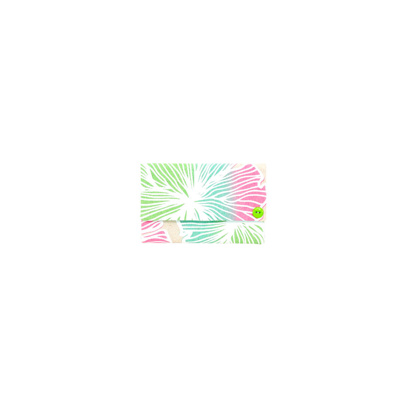Petite Envelope Clutch • Seaflower • White over Pink, Green, and Ocean Blue Ombre