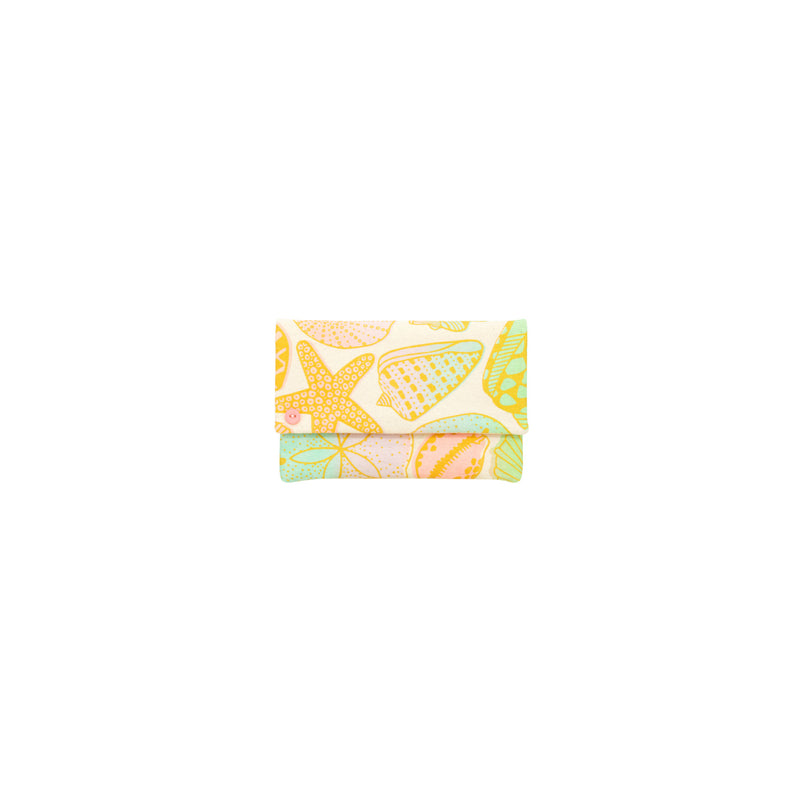 Petite Envelope Clutch • Seashells • Gold over Pastel Rainbow Ombre