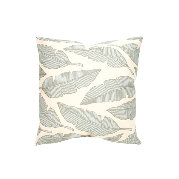 Pillow Cover • Banana Leaf • Metallic Taupe over Blue Gray