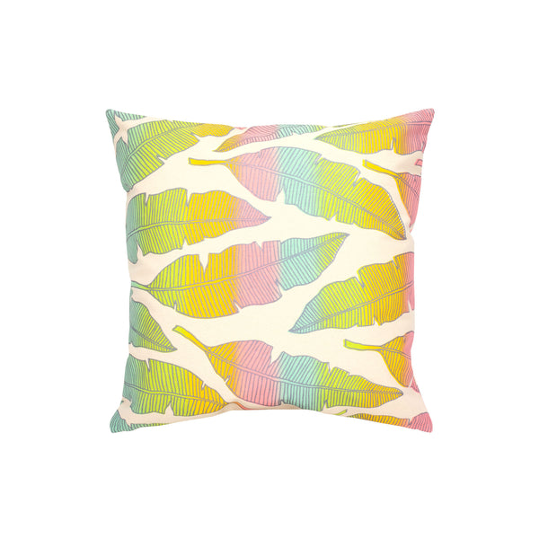 Pillow Cover • Banana Leaf • Silver over Rainbow Ombre