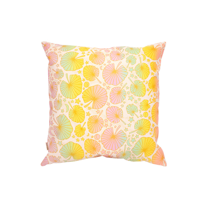 Pillow Cover • Fan Palm • Gold over Pastel Rainbow Ombre