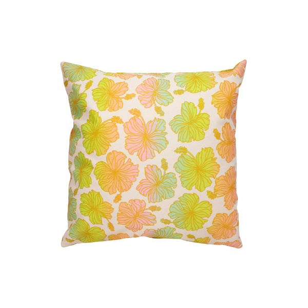 Pillow Cover • Hibiscus • Gold over Rainbow Ombre