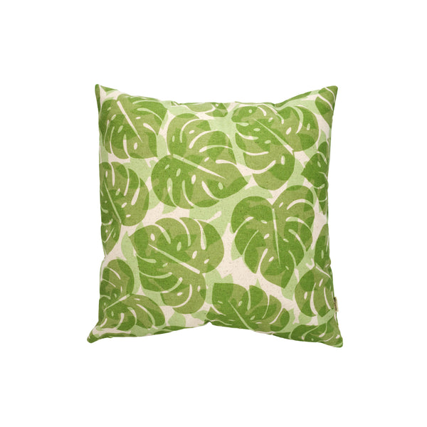 Pillow Cover • Monstera and Papaya Leaf Shadow • Olive over Mint Green