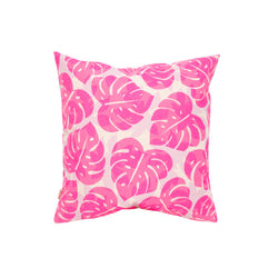 Pillow Cover • Monstera and Papaya Leaf Shadow • Hot Pink over Lavender