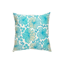 Pillow Cover • Retro Blooms • Ocean Blue and Sand Ombre