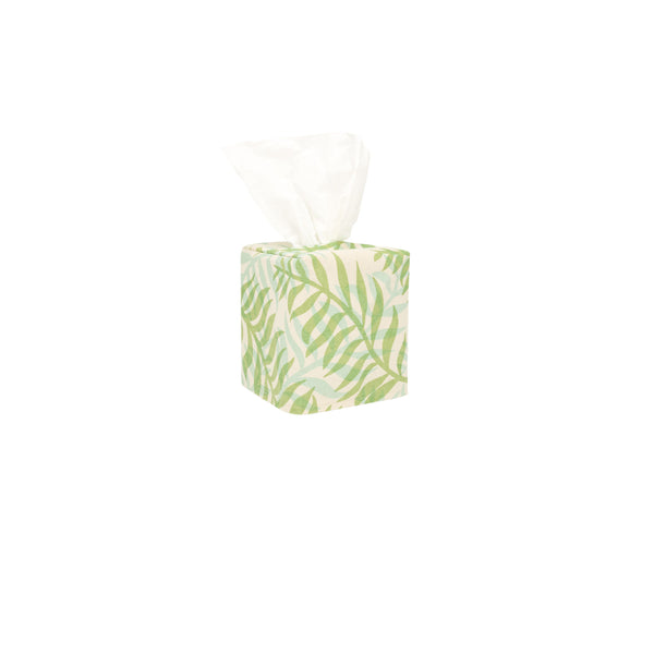 Tissue Box Cover • Double Palm • Sage over Light Blue