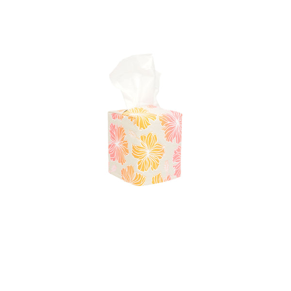 Tissue Box Cover • Hibiscus • White over Pink, and Tangerine Ombre