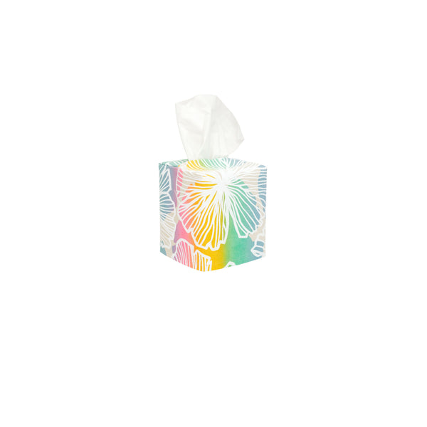 Tissue Box Cover • Seaflower • White over offset Rainbow Ombre
