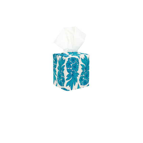 Tissue Box Cover • Seaflower Pineapple • Navy over Teal and Turquoise Ombre