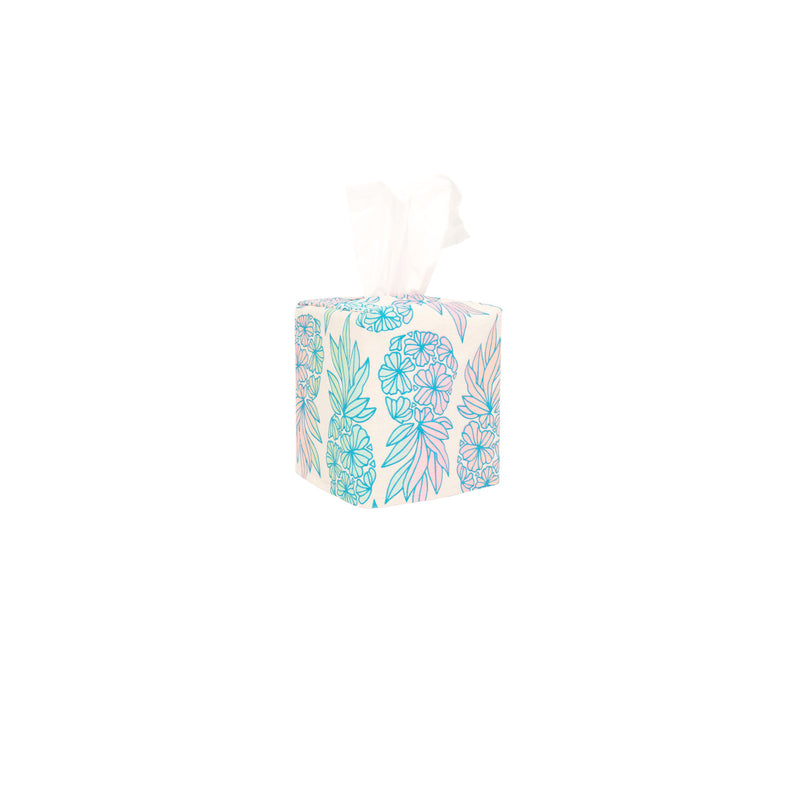 Tissue Box Cover • Seaflower Pineapple • Blue over Light Rainbow Ombre