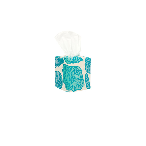 Tissue Box Cover • Shellini • Turquoise over Aqua, Mint, and Blue Ombre