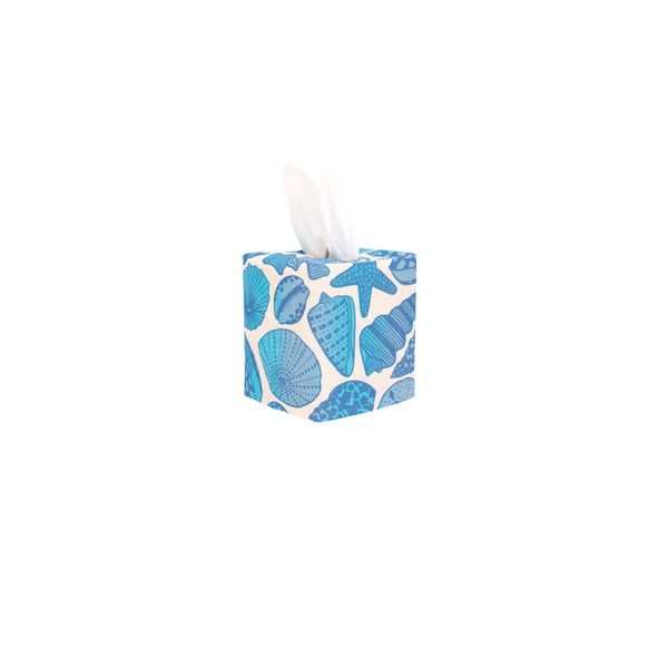 Tissue Box Cover • Seashell • Navy over Bright Blue and Gray Blue Ombre