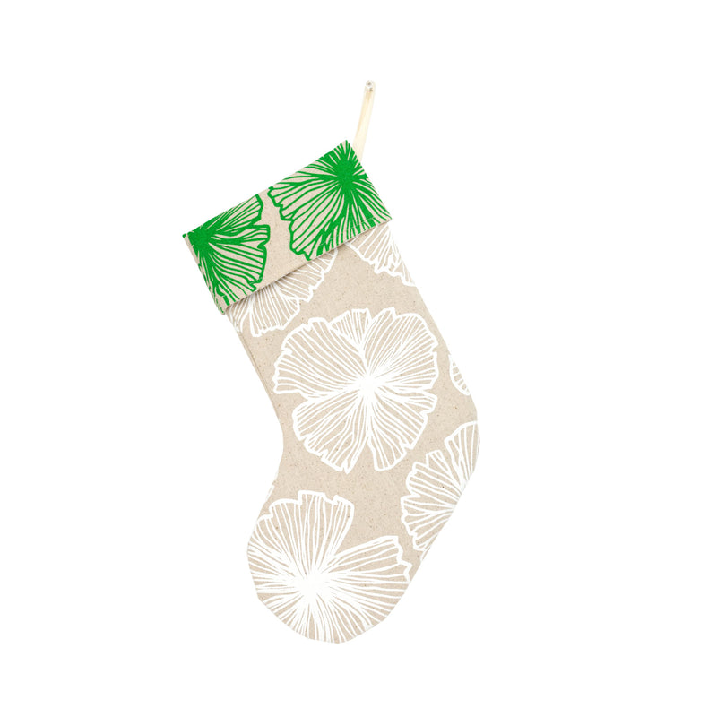 Holiday Stocking • Green and White Seaflower