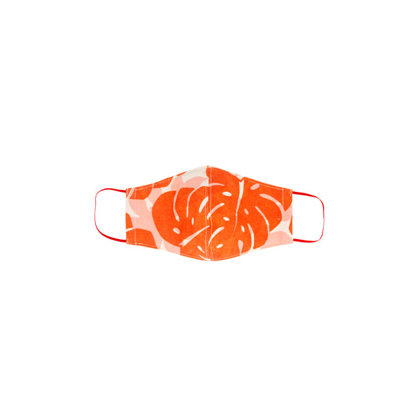 Face Mask • Fitted with Elastic • Red Orange Monstera