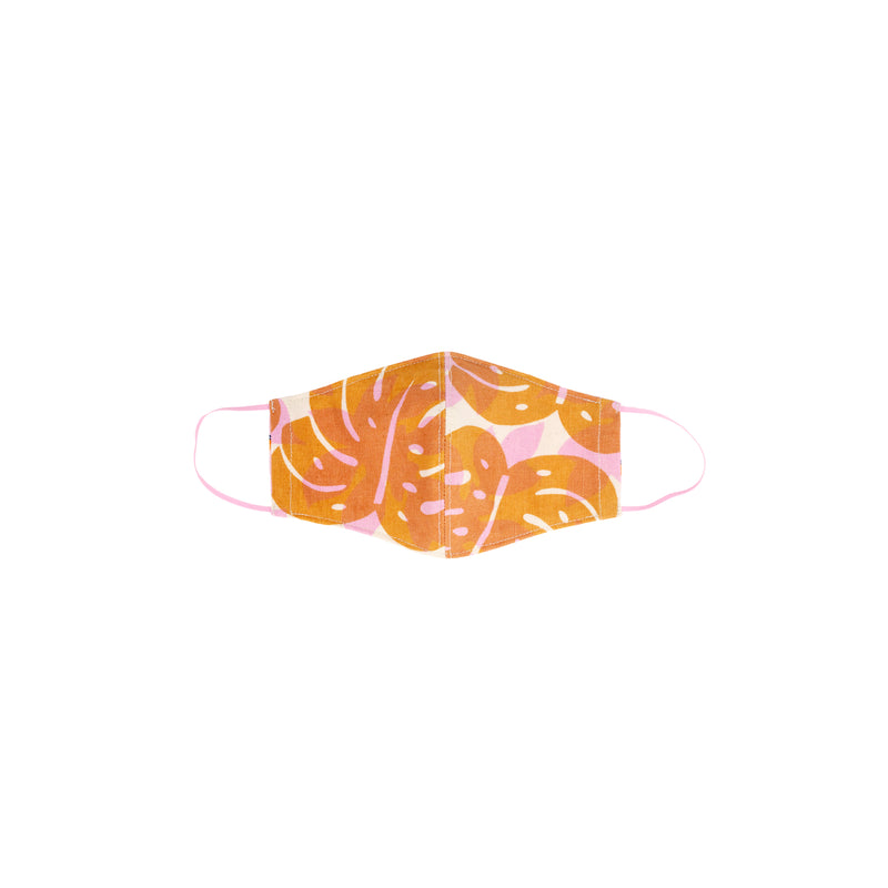 Face Mask • Fitted with Elastic • Lilac and Ochre Monstera