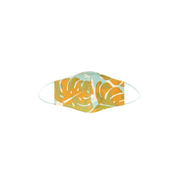 Face Mask • Fitted with Elastic • Mint and Tan Monstera