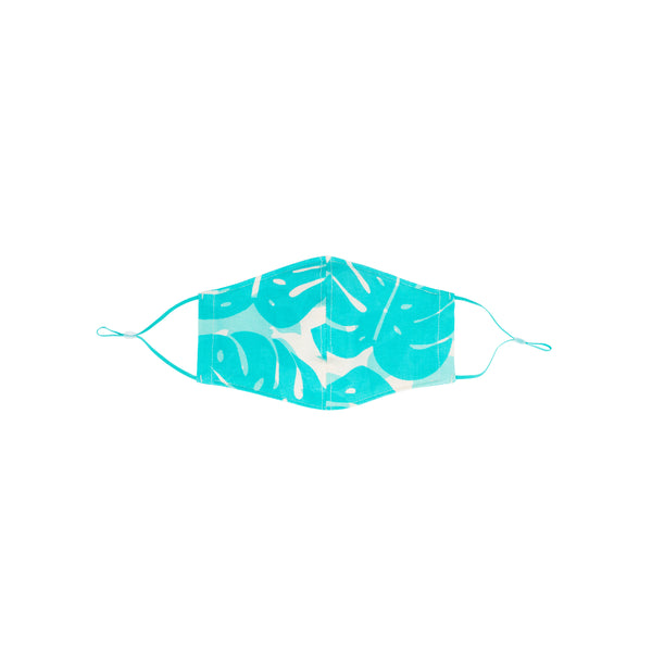 Face Mask • Fitted with Adjustable Elastic • Teal Monstera