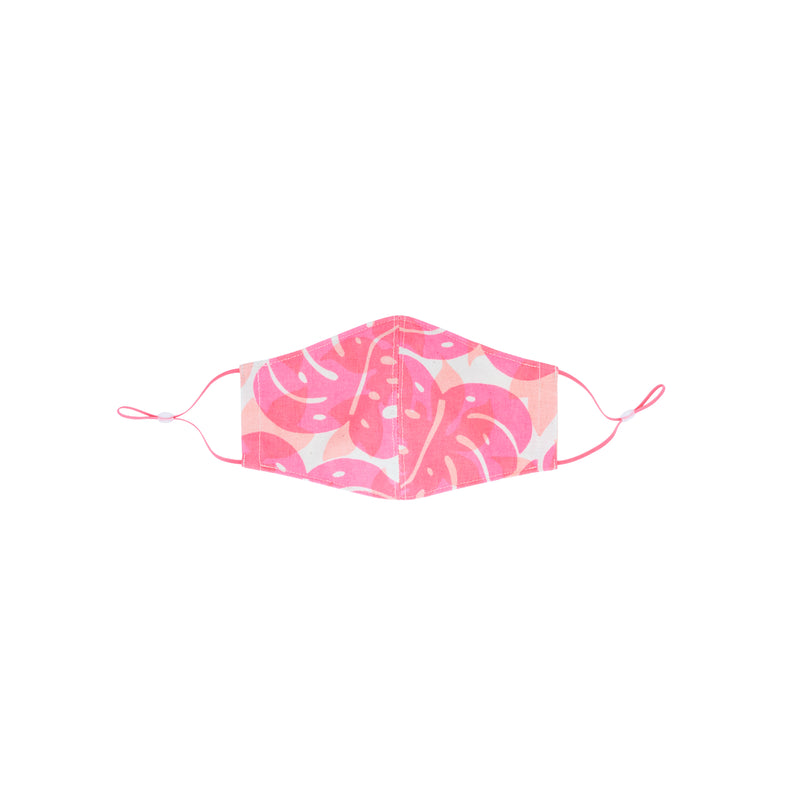 Face Mask • Fitted with Adjustable Elastic • Hot Pink over Peach