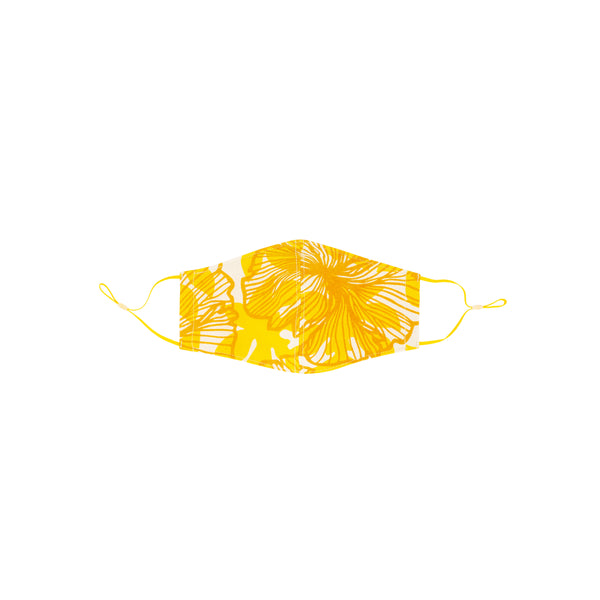 Face Mask • Fitted with Adjustable Elastic • Mustard Yellow Seaflower