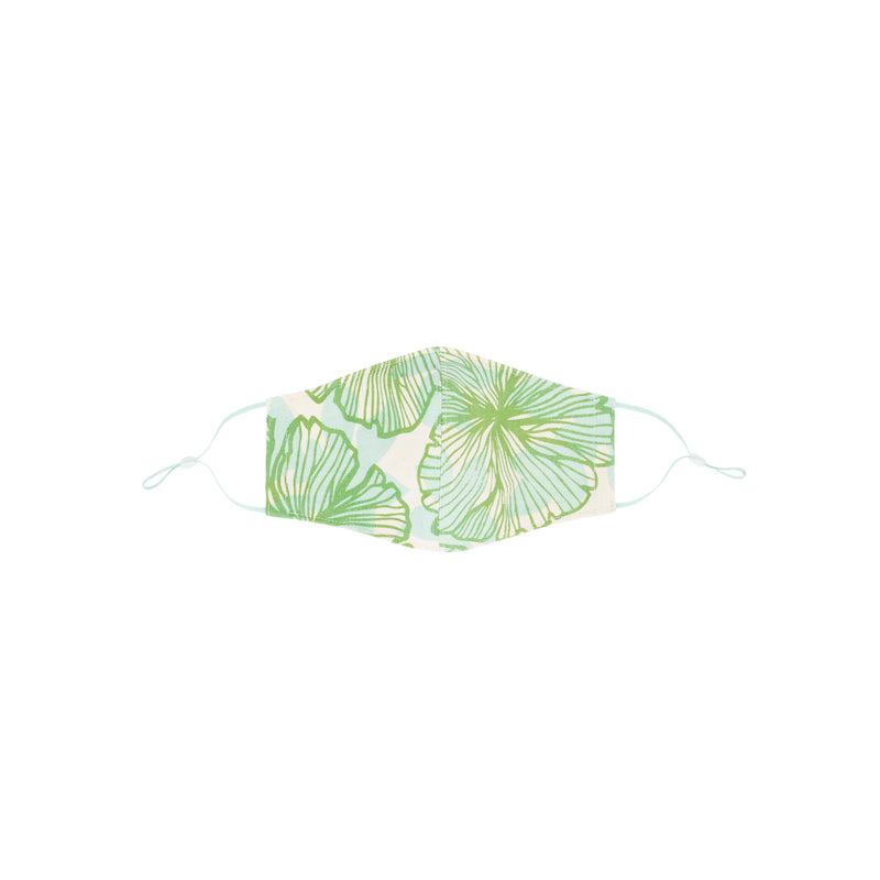 Face Mask • Fitted with Adjustable Elastic • Olive and Light Blue Seaflower